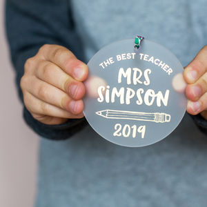 Personalised Best Teacher Keepsake Decoration