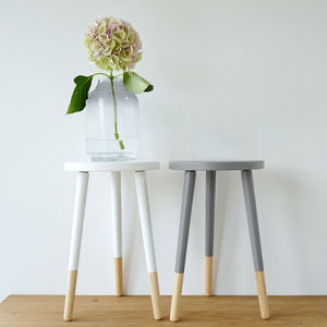 Wooden Stool With Grey Or White - living room