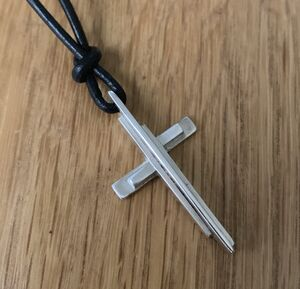 Large Silver Cross Pendant On Leather