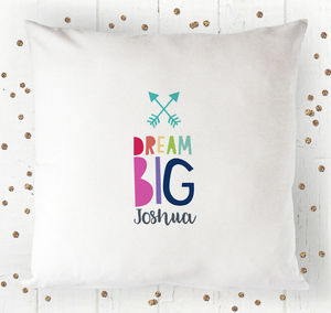 Personalised Dream Big Cushion Cover - christening gifts