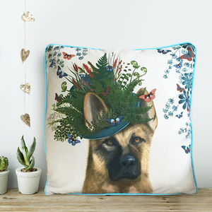German Shepherd Cushion, The Milliners Dogs - patterned cushions