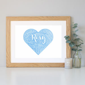 Personalised Watercolour Birthday Gift - typography