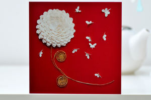 Chrysanthemum Butterfly Card - cards sent direct