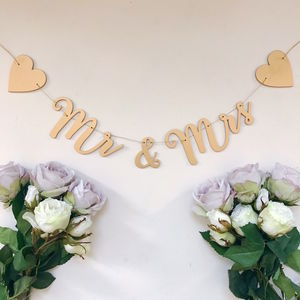 Mr And Mrs Gold Garland - outdoor decorations