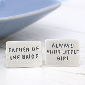 Personalised Message Silver Wedding Cufflinks - for grooms