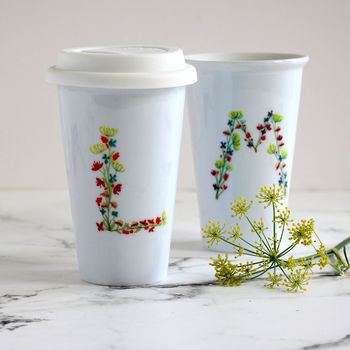 Personalised Floral Monogram Travel Mug