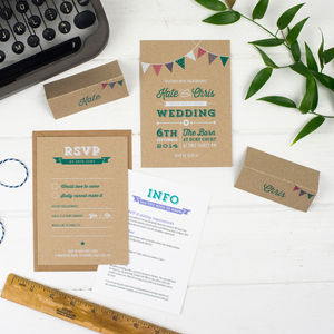 Bunting Wedding Invitation - reply & rsvp cards