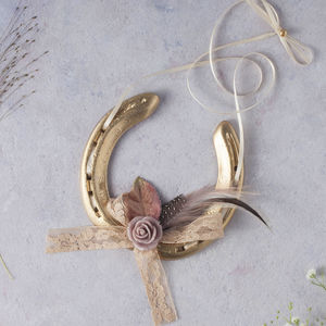 Gold Camille Blush Lucky Wedding Horseshoe - hanging decorations