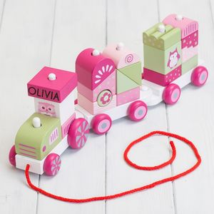 Personalised Pink Wooden Building Blocks Train - baby toys