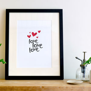 'Love Love Love' Hearts A4 Letterpress Art Print