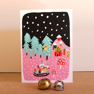 Pack Of Five Christmas Cards With Tobogganing Rabbits
