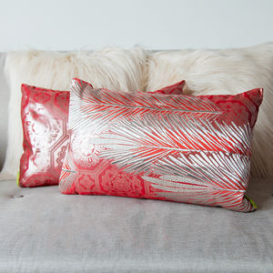 Pink Silver Kimono Cushion 1920s Deco Pine - patterned cushions