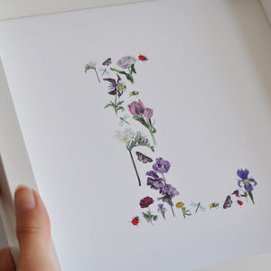 Hand Painted Flower Initial For Girls Christening