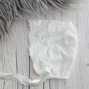 Sheer Lace Christening Bonnet Holly - christening wear