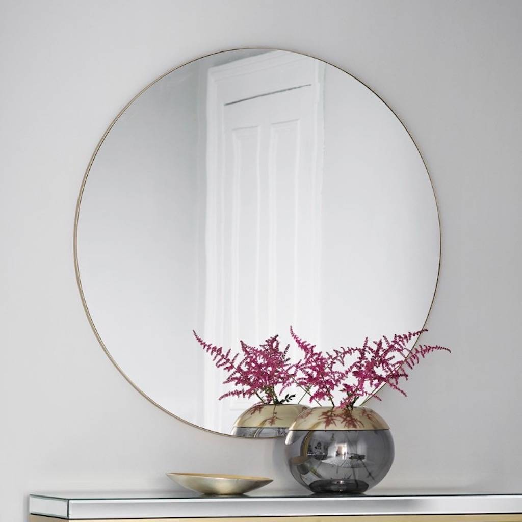 Extra large slim round mirror champagne by the forest co for Extra large round mirror