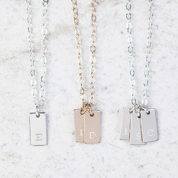 Small Personalised Rectangular Initial Or Date Necklace