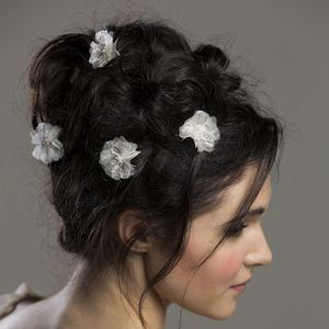 Aurora Lace Silk Flower Hair Pins - wedding fashion