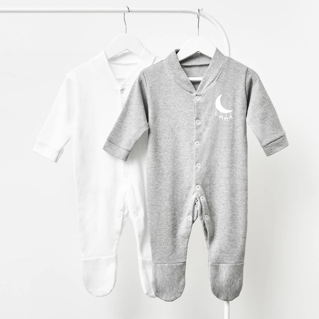 071296c9d little moon personalised baby sleepsuit by sophia victoria joy ...
