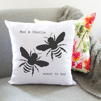 Meant To Bee Personalised Couples Cushion