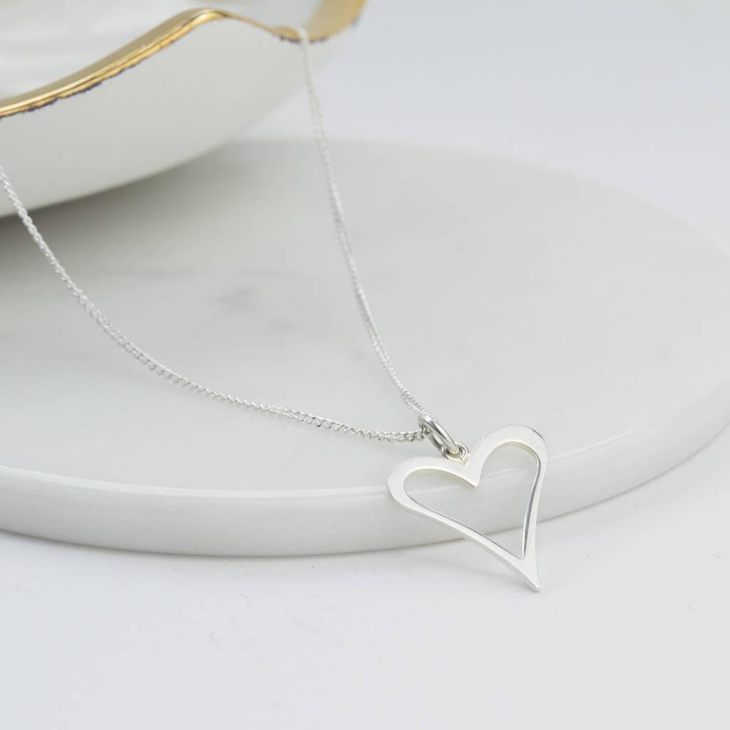 Silver Cut Out Heart Pendant