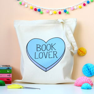 Book Lover Heart Tote Bag