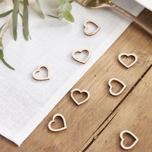Wooden Heart Shaped Wedding Table Confetti - confetti, petals & sparklers