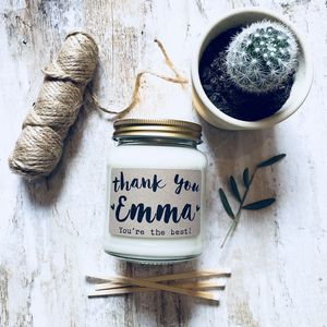 Personalised 'Thank You' Soy Scented Candle - thank you gifts
