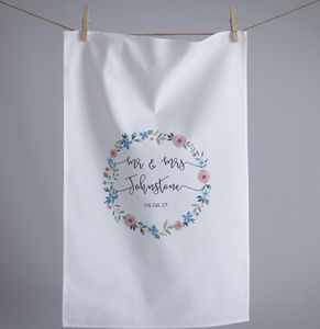 Watercolour Floral Wedding Tea Towel - kitchen linen