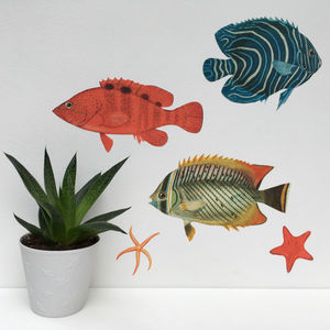 Bright Tropical Fish Wall Sticker Set - home decorating