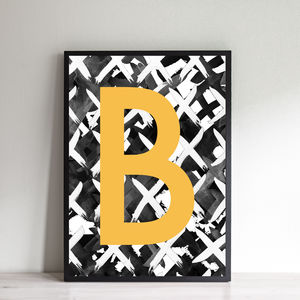 Personalised Criss Cross Initial Print - modern & abstract