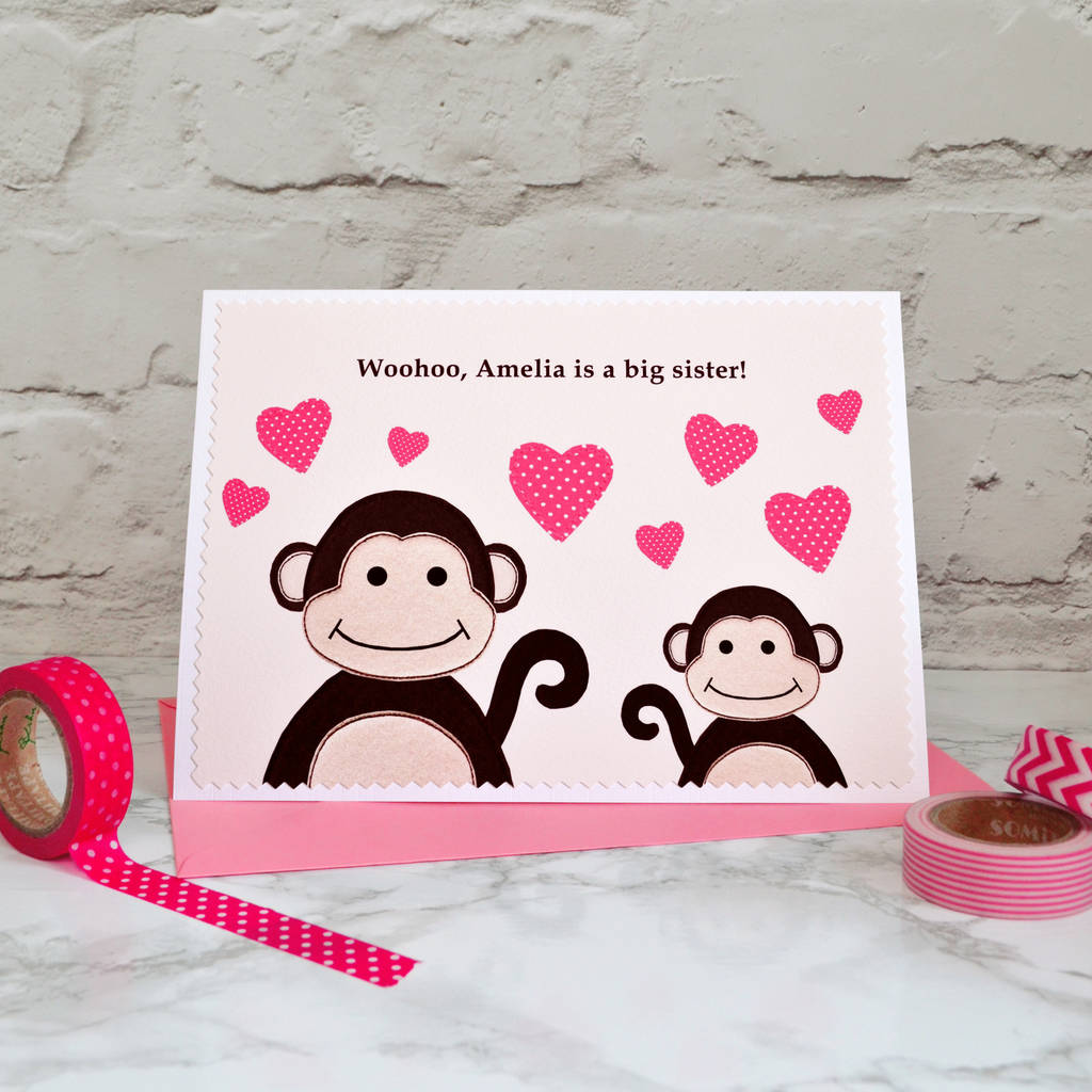 'New Big Sister' Personalised New Baby Card