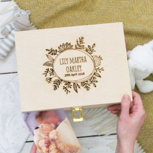 Personalised Botanical Newborn Keepsake Box - new baby gifts