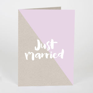 Just Married Kraft Card Pink
