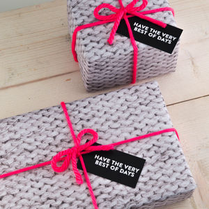 Knitted Gift Wrap Set - ribbon & wrap