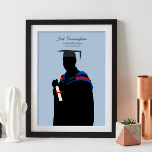 Graduation Silhouette Personalised Print - graduation gifts