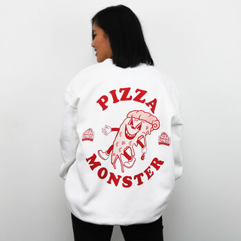 Pizza Monster Women's Back Print Sweatshirt