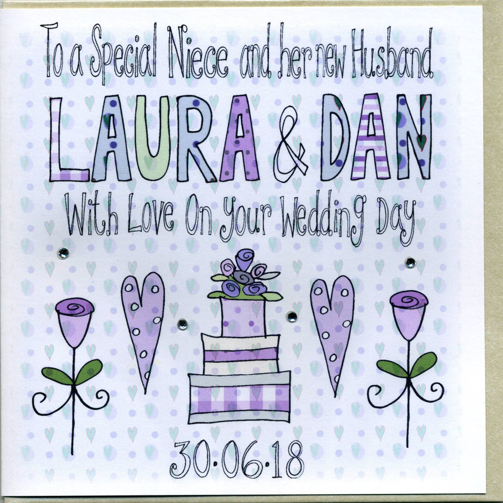 Personalised Niece Or Nephew Wedding Card