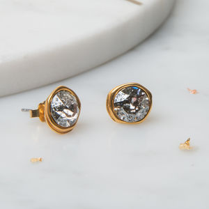 Asymmetric Stud Earrings With Swarovski Crystals - earrings