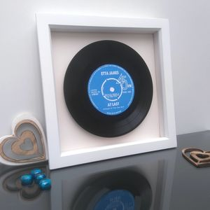 Real Vinyl Record Personalised Label 45rpm - gifts for fathers