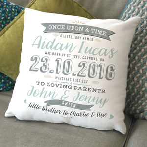 Personalised Typographic Baby Arrival Cushion - baby's room