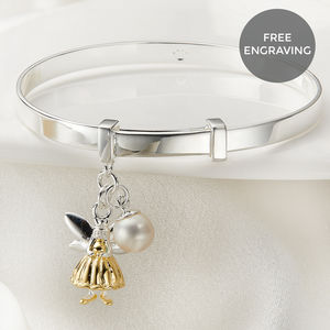 Personalised Gold Fairy Wish Christening Bangle - children's jewellery