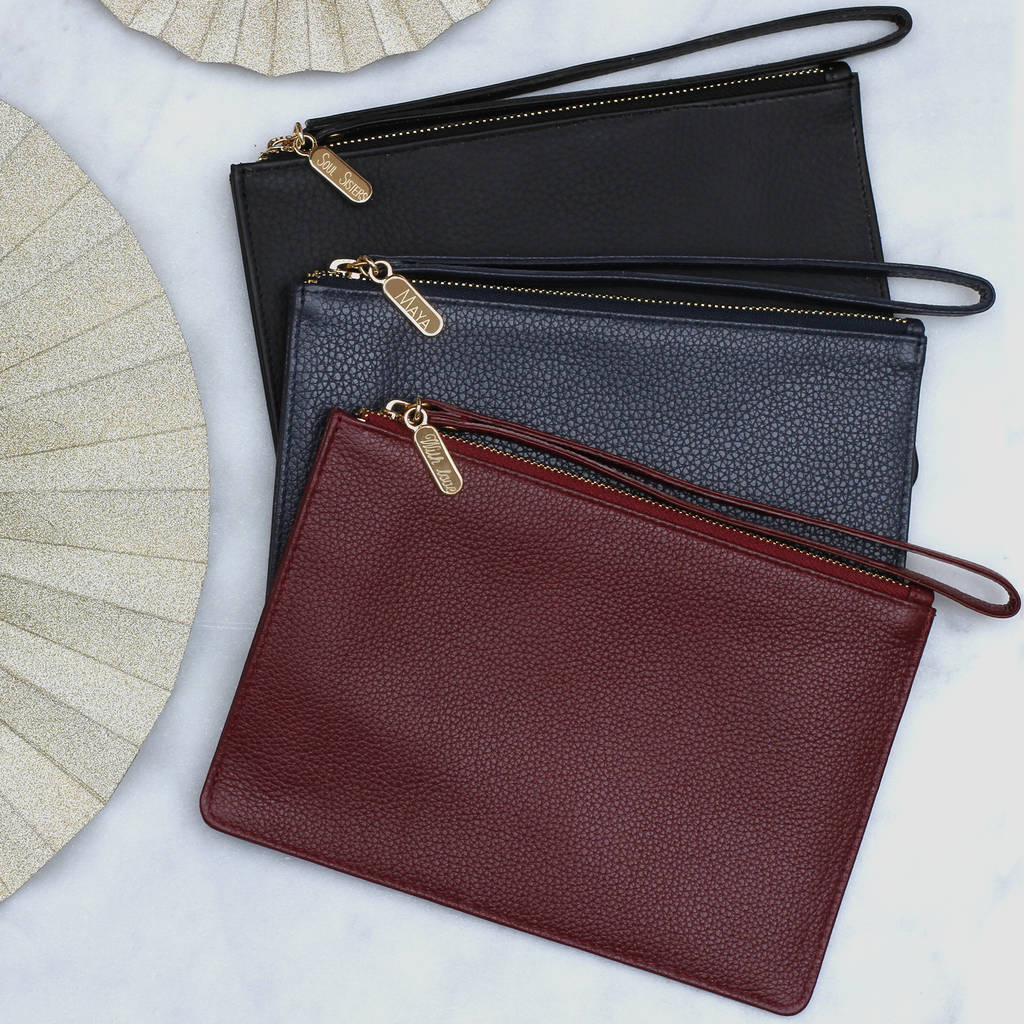 Personalised Na Leather Wrist Strap Clutch Bag