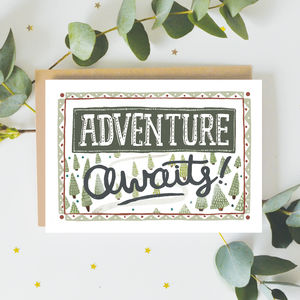 'Adventure Awaits!' Greeting Card - leaving cards