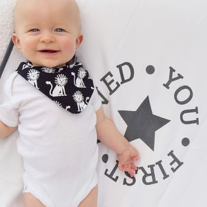 Monochrome Lion Reversible Dribble Bib