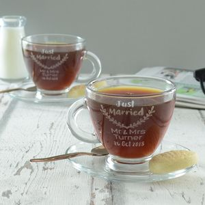 Just Married Personalised Wedding Cup And Saucer Set - what's new