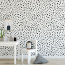 Black Or Grey Dalmatian Dots Self Adhesive Wallpaper
