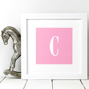 New Baby Gift; Girl's Initial Print In Pink