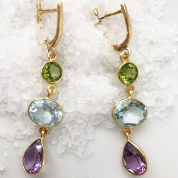 Amethyst, Blue Topaz And Peridot Drop Earrings