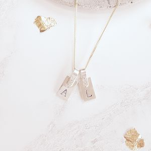 Silver Strap Initial Necklace