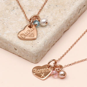 Personalised Rose Gold Charm And Pearl Necklace